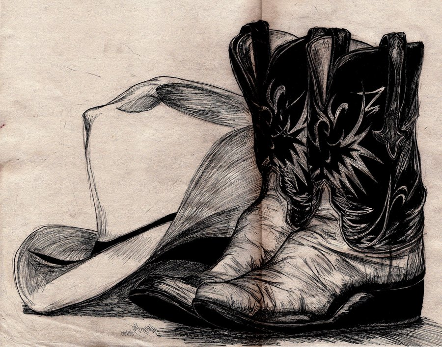 Cowboy boots with spurs drawings